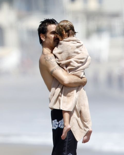 EXCLUSIVE: Colin Farrell enjoying the day at the beach with his children in Malibu, California